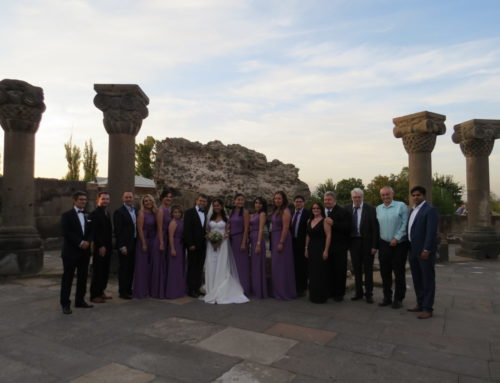THE GUESTS OF THE TRADITIONAL ARMENIAN WEDDING WERE LEVON ARONIAN AND ARIANA KAOLINI
